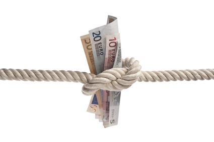 Banconote legate con la corda